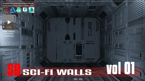 Sci-Fi walls KitBash Pack 50 vol 01+265 min video totorial