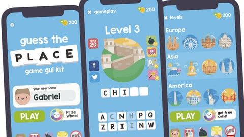 Guess the Place Game Gui Assets Kit