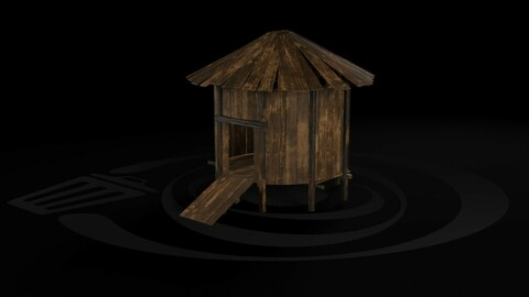 AAA Wooden Enterable Medieval Primal Thatched Cottage Hut 05 R