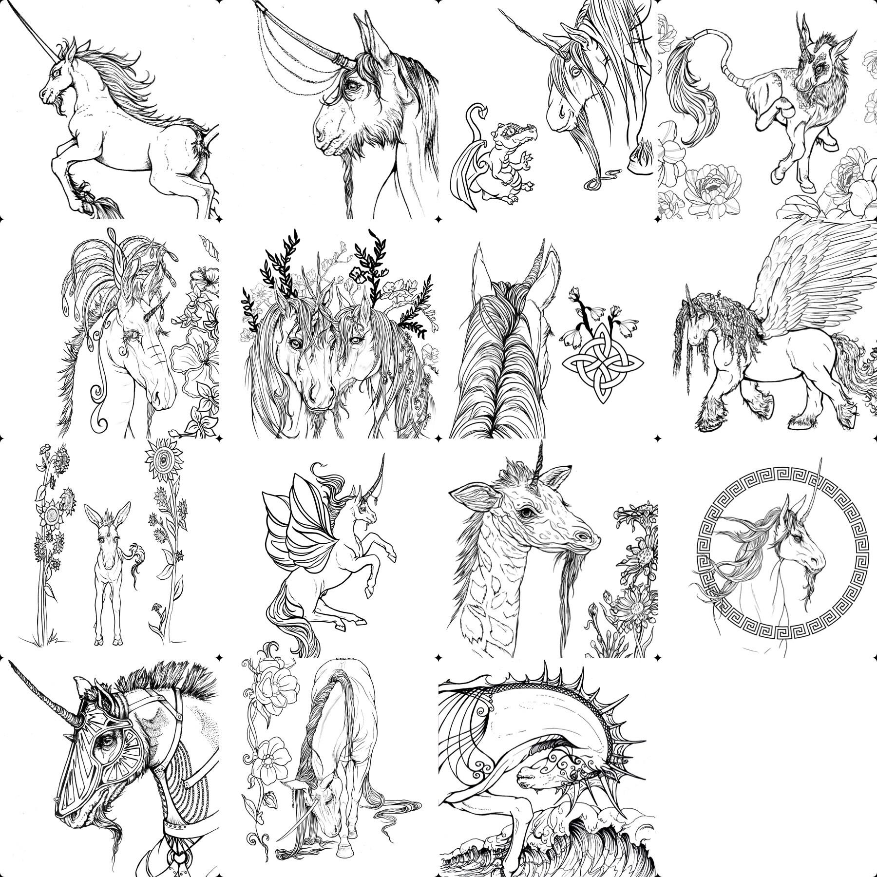 Artstation Unicorns And Dragons Printable Coloring Book Books Comics