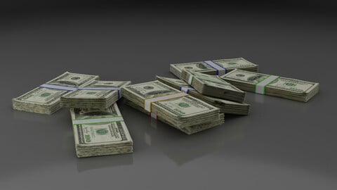 Money Stack - Dropped - 100 Dollars - Coins -High Quality 3D model