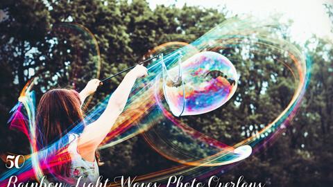 50 Rainbow Light Waves Photo Overlays
