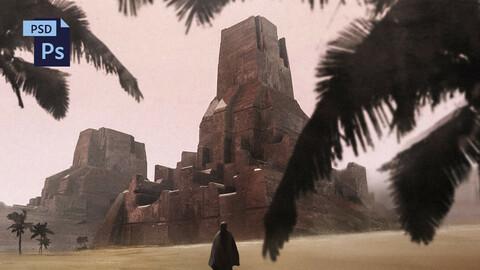 PSD + OBJ Sci-Fi Fantasy Environment