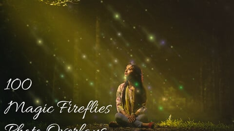 100 Magic Fireflies Photo Overlays