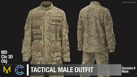 Tactical male outfit / Marvelous Designer / Clo 3D project + obj