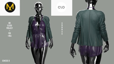 GENESIS 8| MARVELOUS DESIGNER, CLO3D PROJECT+FBX+OBJ | FEMALE FANCY GARMENT