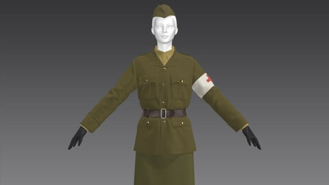 The German medical female military uniform_Outfit__Clo3d, Marvelous Designer Project + FBX + OBJ(if needed)
