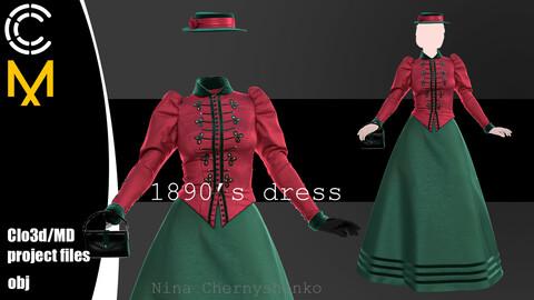 1890's dress. Marvelous Designer, Clo3d project + OBJ.