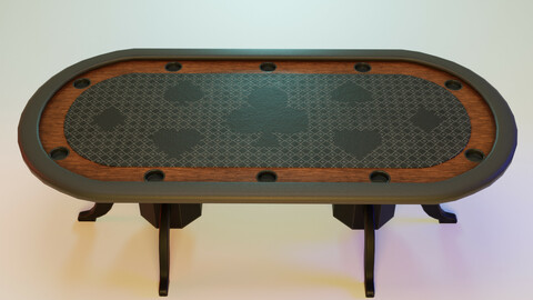Poker table Low-poly 3D model