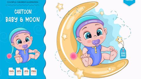 Cartoon baby & moon.