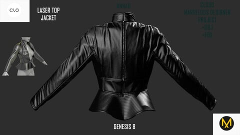 GENESIS 8 |CLO3D MARVELOUS DESIGNER PROJECT +OBJ +FBX |LASER TOP JACKET
