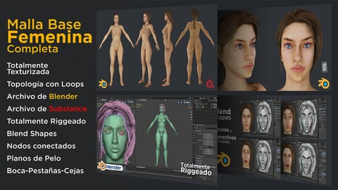 Full Female Base Mesh - Textured - Rigged - Flat hair and particles - Nodes / Woman / 3D / Girl