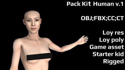 Pack Kit Human v.1 Сharacter OBJ, FBX , Crazy Talk, etc.