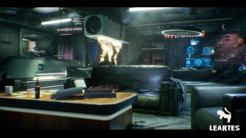 CyberPunk / Sci - Fi Apartment Interior Environment Kitbash