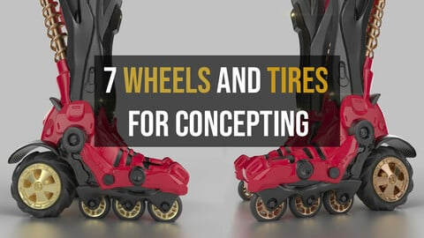 7 Wheels And Tires For Concepting - Zbrush OBJ / ZPR