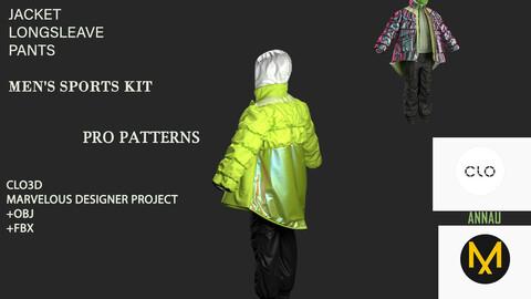 JACKET+ LONGSLEAVE+ PANTS: MEN'S SPORTS KIT/ CLO3D| MARVELOUS DESIGNER PROJECT| +OBJ+ FBX