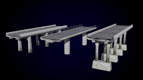 Tileable Concrete Bridge Parts Pack