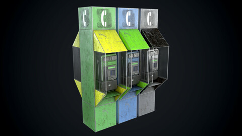 Payphone Dirty different colors Low-poly 3D model