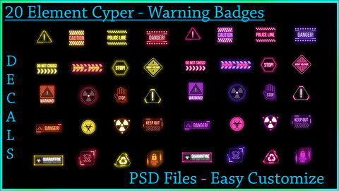 20 Element Cyber Warning Badges Decals - PSD File - Easy Customize