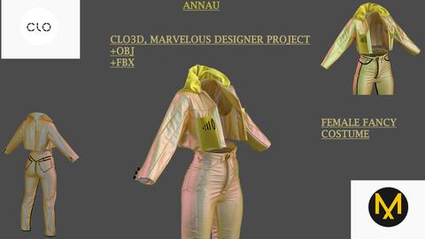 GENESIS 8: FANCY FEMALE COSTUME| CLO3D, MARVELOUS DESIGNER PROJECT| +OBJ+FBX
