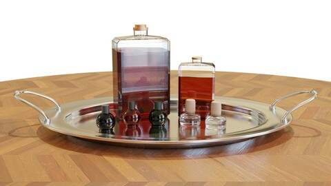 Tray with Liquor Bottles - Interior Decorations - High Quality 3D model