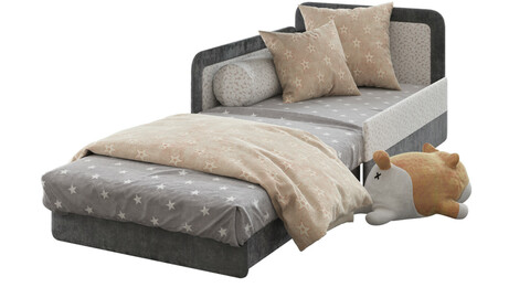 Children open bed sofa and shiba toy 3d model