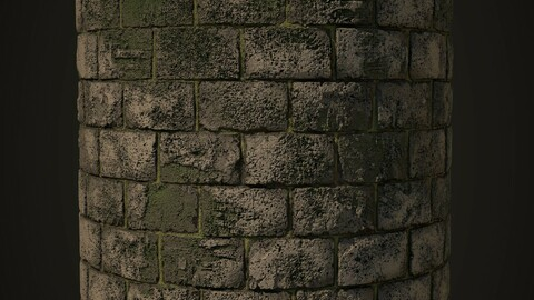 Medieval Stone Wall with Moss Material - sbs,sbsar,texture maps(Substance Designer)