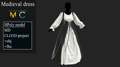 Medieval dress. Marvelous Designer / Clo3d project +OBJ +FBX