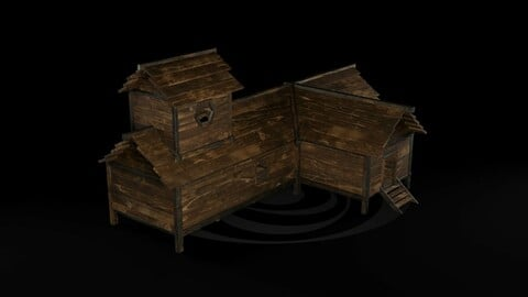AAA Wooden Enterable Medieval Primal Thatched Cottage Hut 08 R