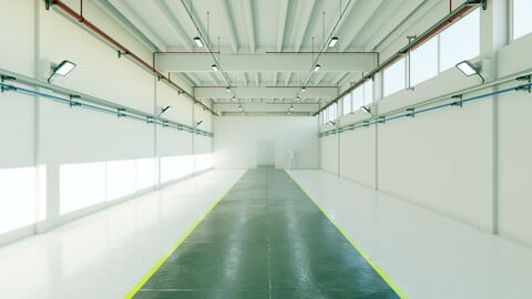 Industrial Hangar Hall Interior 6