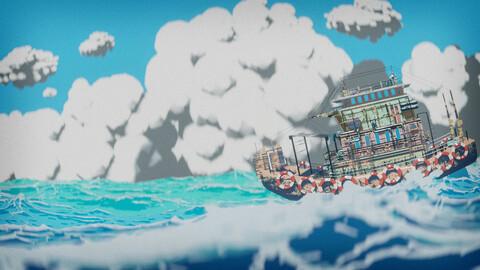 blender real time anime style ship&ocean