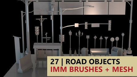 Highway/Road Objects IMM Brushes + Mesh