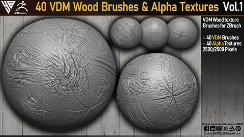 40 VDM Wood Brushes for ZBrush &  Alpha Textures Vol 01