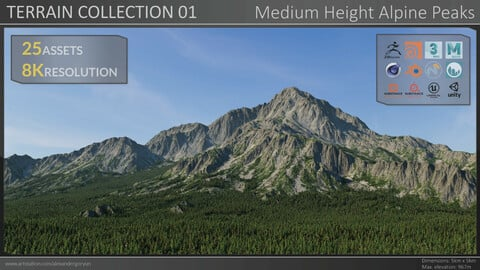 Terrain Collection 01 - Medium Height Alpine Peaks