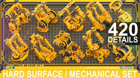 Sci-Fi Hard Surface Mechanical KITBASH 420 DETAILS