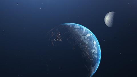 Earth And Moon,Mars,Sun