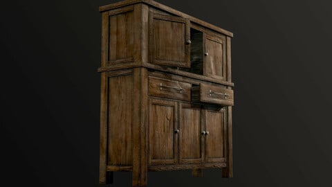 Wooden Chest Of Drawers Low-poly 3D model