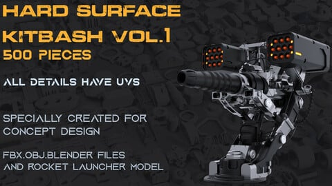 Sci-fi hard surface kitbash vol.1 500 details