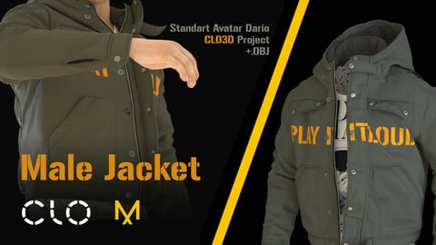 Male Jaket. MD, CLO 3D Project .ZPrj  with standart avatar Male_V1 + 4 renders, .OBJ and .POS