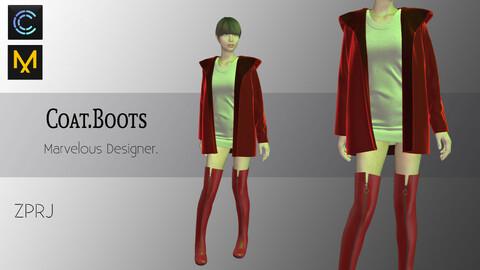 Coat- Boots Marvelous Designer & CLO3d Projects-ZPRJ