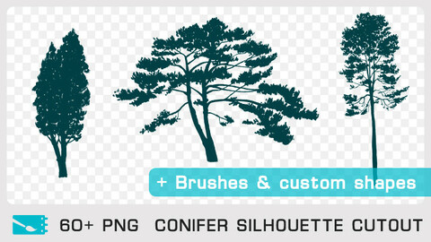 CONIFER SILHOUETTE CUTOUT - Traditional painting pack - 60+ PNG & FREE Brushes + Custom Shapes
