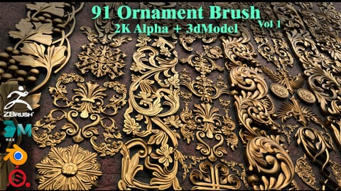 91 Ornament Brush & Alpha & 3dModel (Fred's Vol 1)