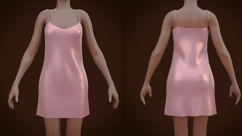 Silk cami dress - Satin nightdress 3D Model