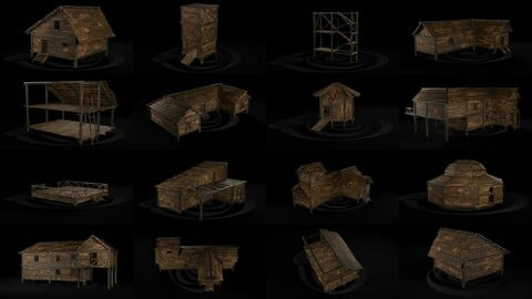 AAA Wooden Enterable Medieval Primal Hut Collection 02 R