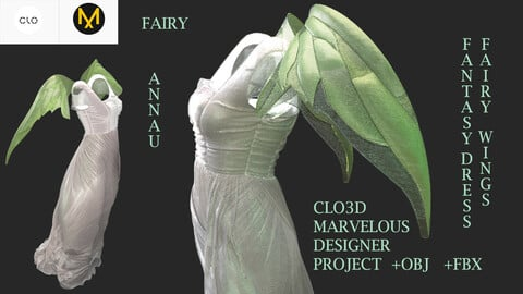 GENESIS 8: FAIRY WINGS, FANTASY DRESS: CLO3D, MARVELOUS DESIGNER PROJECT|  +OBJ|+FBX
