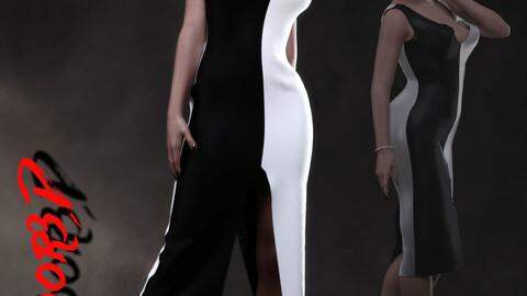 dForce Dual Panel Dress for DAZ Studio Genesis 3 Female