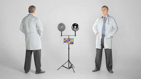 Middle aged male doctor standing 254