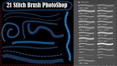 21 Stitch Brush Photoshop