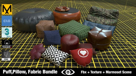Puff, Pillow , Fabric BUNDLE ( Limited Time ) High Quality Fbx+Marvelous+Marmoset+Texture