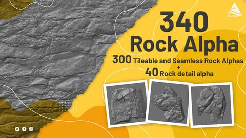 (340) 300 Tileable and Seamless Rock Alphas + 40 Rock detail alpha